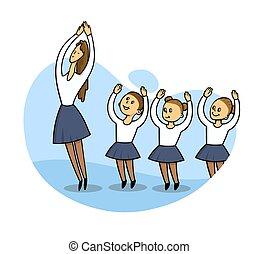 płaski, dzieciaki, biały, wektor, styl, ilustracja, klasa, tło., taniec, teacher., odizolowany