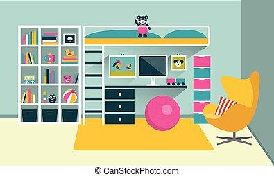 płaski, dzieciaki, illustration., room., wiać łóżko, wektor,...