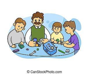 płaski, dzieciaki, robot., nauka, wektor, biały, asemblując, styl, nauczyciel, robotics, ilustracja, tło., odizolowany