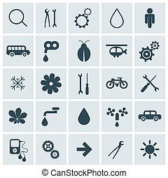 płaski, ekierka, ikony, wektor, projektować