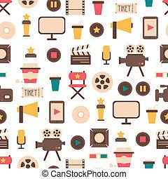 płaski, elementy, illustration., barwny, kino, próbka, ikony...