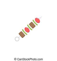 płaski, elementy,  Kebab, jadło, napój, Ikona,  shish