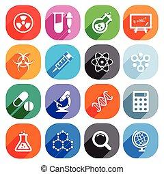 płaski, elementy, nauka, icons., wektor, modny
