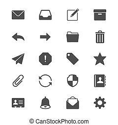 płaski, email, ikony