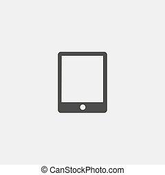 płaski, eps10, tabliczka, ilustracja, color., wektor, projektować, czarnoskóry, ikona