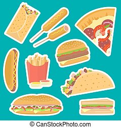płaski, fastfood, komplet, jasny, wektor, smakowity, majchry