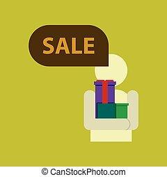 płaski, figura, sprzedaż, dary, dyskon, wtykać, ludzki, ikona