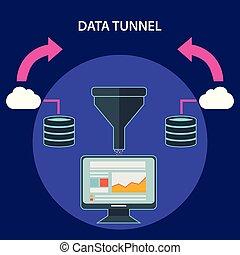 płaski, filtr, tunel, proces, ilustracja, twórczy, wektor, cielna, analysis., pojęcia, dane