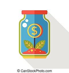 płaski, finanse, drzewo pieniędzy, butelka, ikona