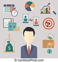 płaski, finanse, handlowa ilustracja, wektor, concepts.
