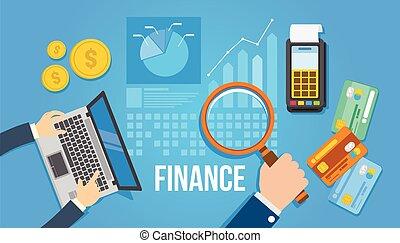 płaski, finansowe kierownictwo, projektować, ilustracja