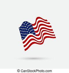 płaski, flag., ilustracja, falować, amerykanka, wektor