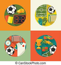płaski, (football), tła, icons., lekkoatletyka, piłka nożna
