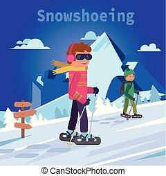płaski, góra, mężczyźni, ilustracja, wektor, snowshoes