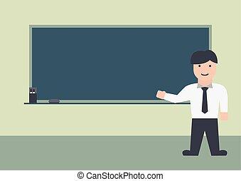płaski, graficzny, męski nauczyciel, tablica