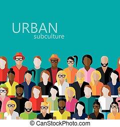 płaski, grupa, ilustracja, wielki, społeczeństwo, wektor,...