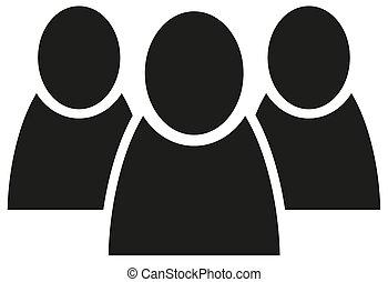 płaski, grupa, ludzie, wektor, drużyna, ikona