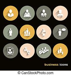 płaski, handlowe ikony, wektor, projektować, sieć