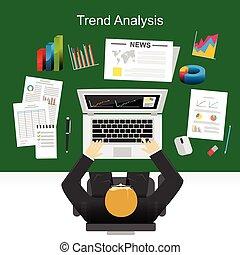 płaski, handlowy dążą, handel, analiza, projektować, pojęcia, plan., statystyka