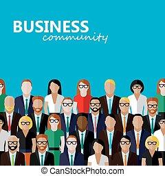 płaski, handlowy, l, ilustracja, community., wektor,...