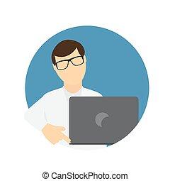 płaski, handlowy, laptop, communi, wth, komputer, modny, style., człowiek