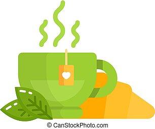 płaski, herbata, piekarnia, litery, rogalik, rysunek, ikona