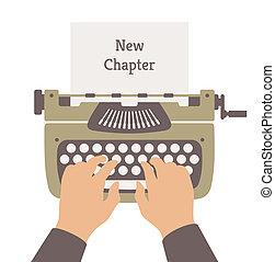 płaski, historia, nowy, ilustracja, pisanie