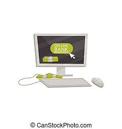 płaski, hydromonitor, finansowy, service., mysz, keypad, pliki, dwa, theme., gotówka., bankowość, wektor, projektować, online, komputer