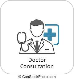płaski, icon., konsultacja, doktor, design.
