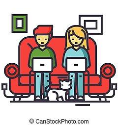 płaski, icon., rodzina, pracujący, stroke., freelancers, freelance, editable, odizolowany, sofa, laptopy, wektor, ilustracja, tło, chating, biały, concept., kreska, dom, linearny