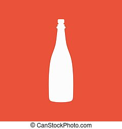 płaski, icon., szampan, symbol., wino
