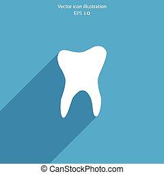 płaski, icon., wektor, ząb