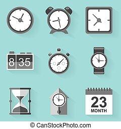 płaski, ikona, set., time., clock., biały, styl