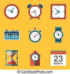 płaski, ikona, set., time., zegar