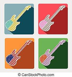 płaski, ikony, długi, gitara, amerykanka, cień