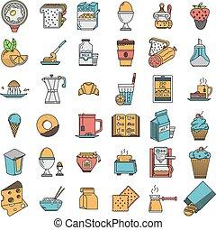 płaski, ikony, jadło, zbiór, kolor, wektor