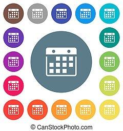 płaski, ikony, kolor, biały, tła, wisząc, kalendarz, okrągły