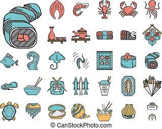 płaski, ikony, kolor, produkty morza, zbiór, wektor