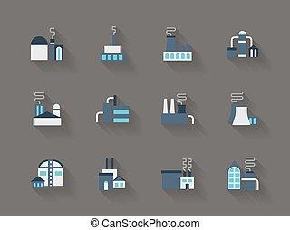 płaski, ikony, kolor, przemysł, wektor, architektura