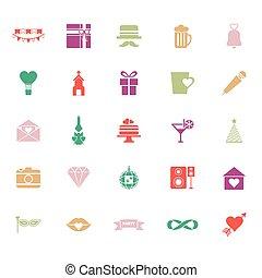 płaski, ikony, kolor, rocznica, tło, biały, szczęśliwy
