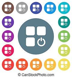 płaski, ikony, kolor, tła, składnik, witka, biały, okrągły