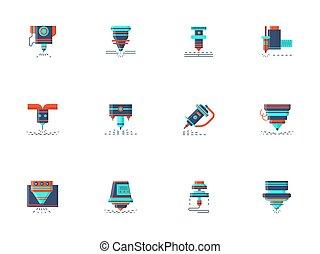 płaski, ikony, kolor, zbiór, wektor, lasery