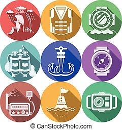 płaski, ikony, kolor, zbiór, wektor, nurkowanie