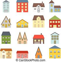 płaski, ikony, komplet, dom, wektor, projektować