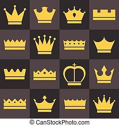 płaski, ikony, komplet, korony, wektor, projektować