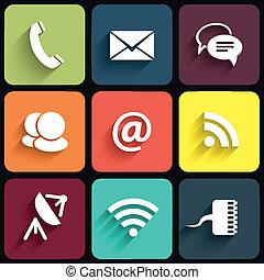 płaski, ikony, komunikacja, nowoczesny, ilustracja, wektor, projektować, shadows., znaki