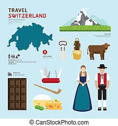 płaski, ikony pojęcia, podróż, szwajcaria, projektować, il, ...