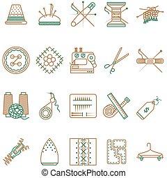 płaski, ikony, pozycje, szycie, zbiór, wektor, kreska