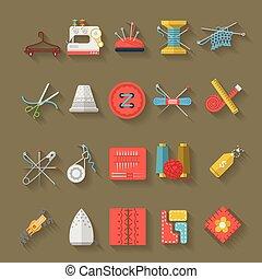 płaski, ikony, pozycje, szycie, zbiór, wektor, projektować