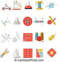 płaski, ikony, pozycje, szycie, zbiór, wektor